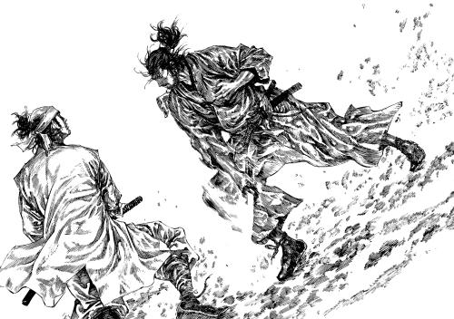 """Vagabond"" est un manga de Takehiko Inoue. L'histoire est basée sur le roman de Eiji Yoshikawa consacré au samouraï Miyamoto Musashi."