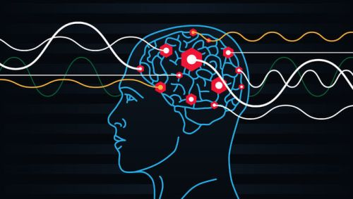 48484409 - brain waves. electrodes connected to a man head. mind power concept. flat vector thin line icon.