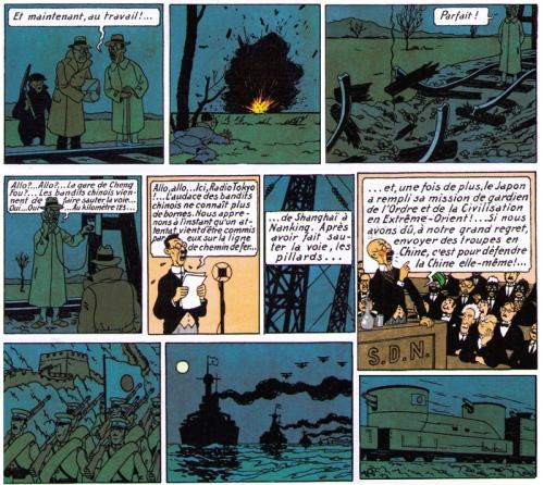 """Dans """"Le Lotus Bleu"""", Hergé reproduit l'incident du Mukden qui précipita l'entrée en guerre du Japon contre la Chine"""